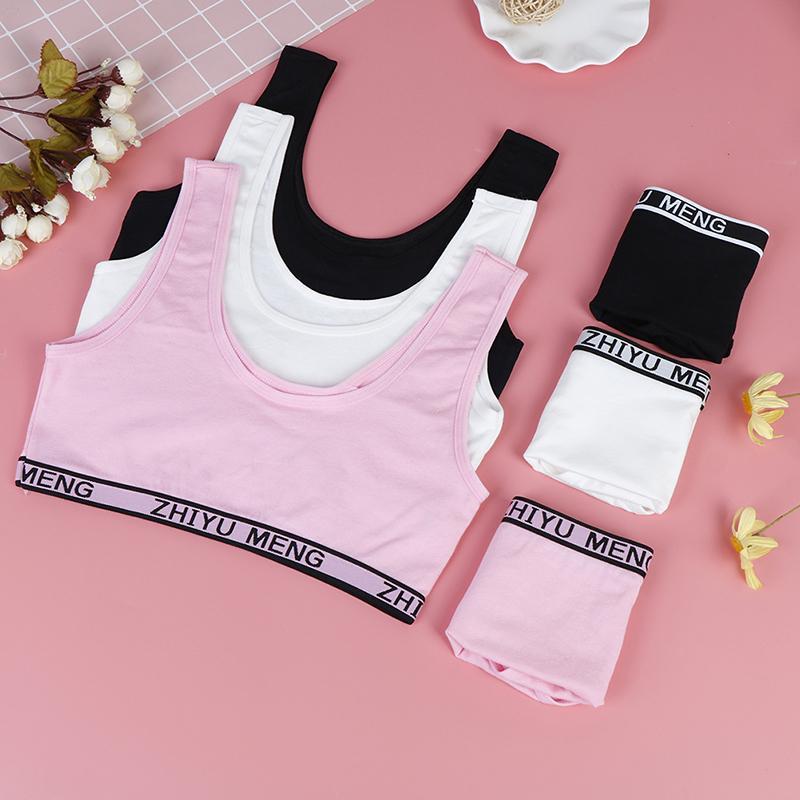 1set bra girls underwear bra vest briefs kids sport undies bustier crop top  qn