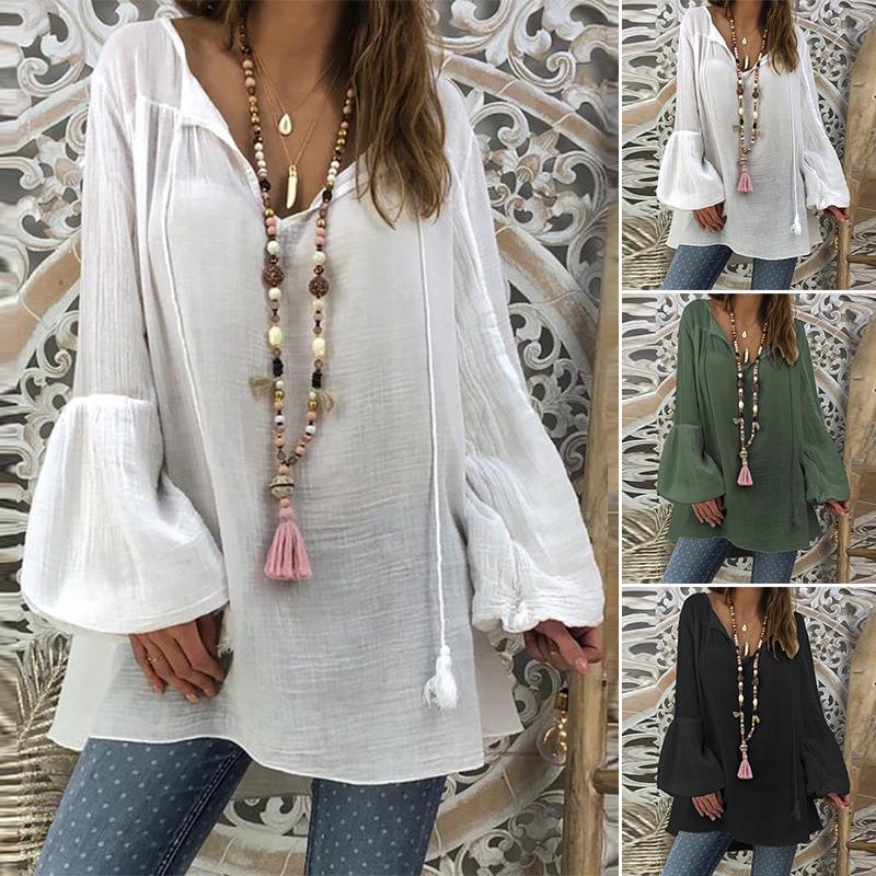Fashion Women Long Sleeve Tassel Irregular Hem Loose Casual Cotton Tops Blouse