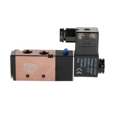 8 AC220V Electromagnetic Valve Two-Position Five-Way Solenoid Valve Aluminum Alloy High Sensitivity with Copper Coil 4V110-06 Pt1