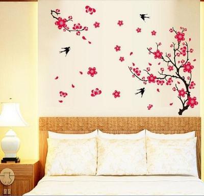 Habitación Flor De Durazno Flor Mariposa Wall Stickers Vinilo Arte