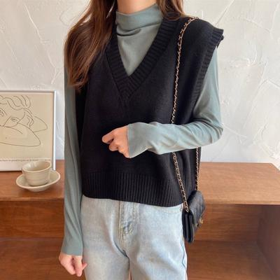 2019 Women Sweater Spring Autumn Wool Vest Sleeveless v Neck