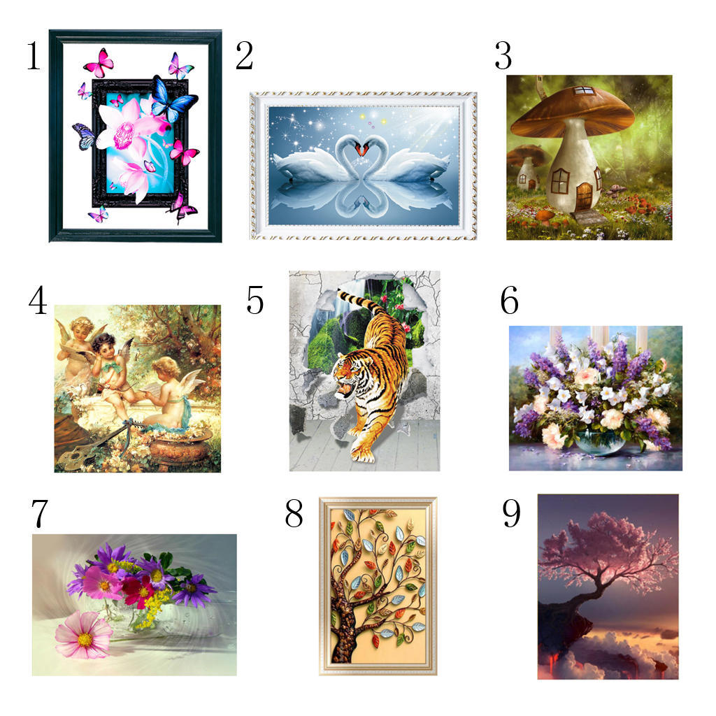 5D Diamond Painting Full Drill Flowers Animal Embroidery Cross Stitch Craft