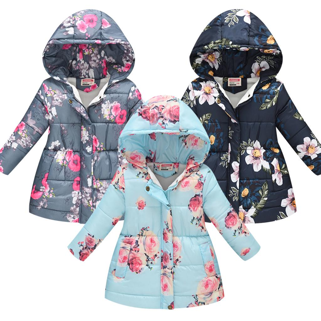 US Toddler Baby Girl Boy Floral Print Winter Warm Jacket Hooded Windproof Coat