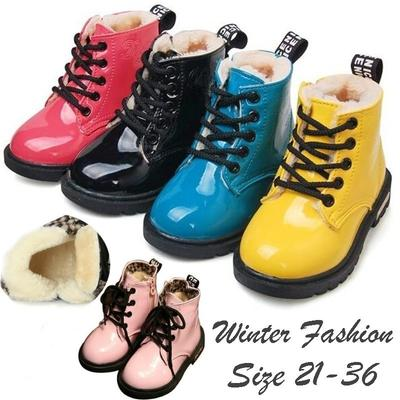 Winter Children Shoes PU Leather Waterproof Martin Boots Kids Snow Boots