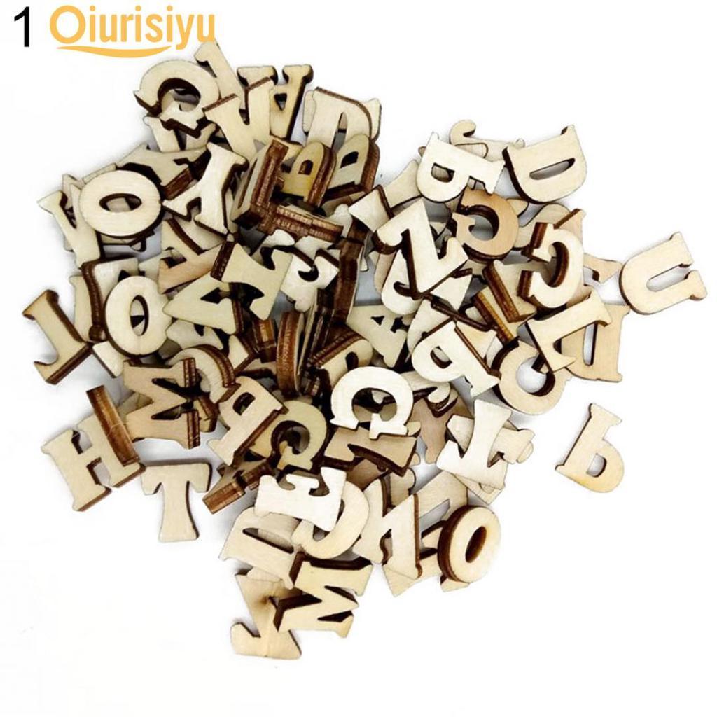 100 Assorted Flat Back Wooden Alphabet Letter Flatback Wood-cut Scrapbooking