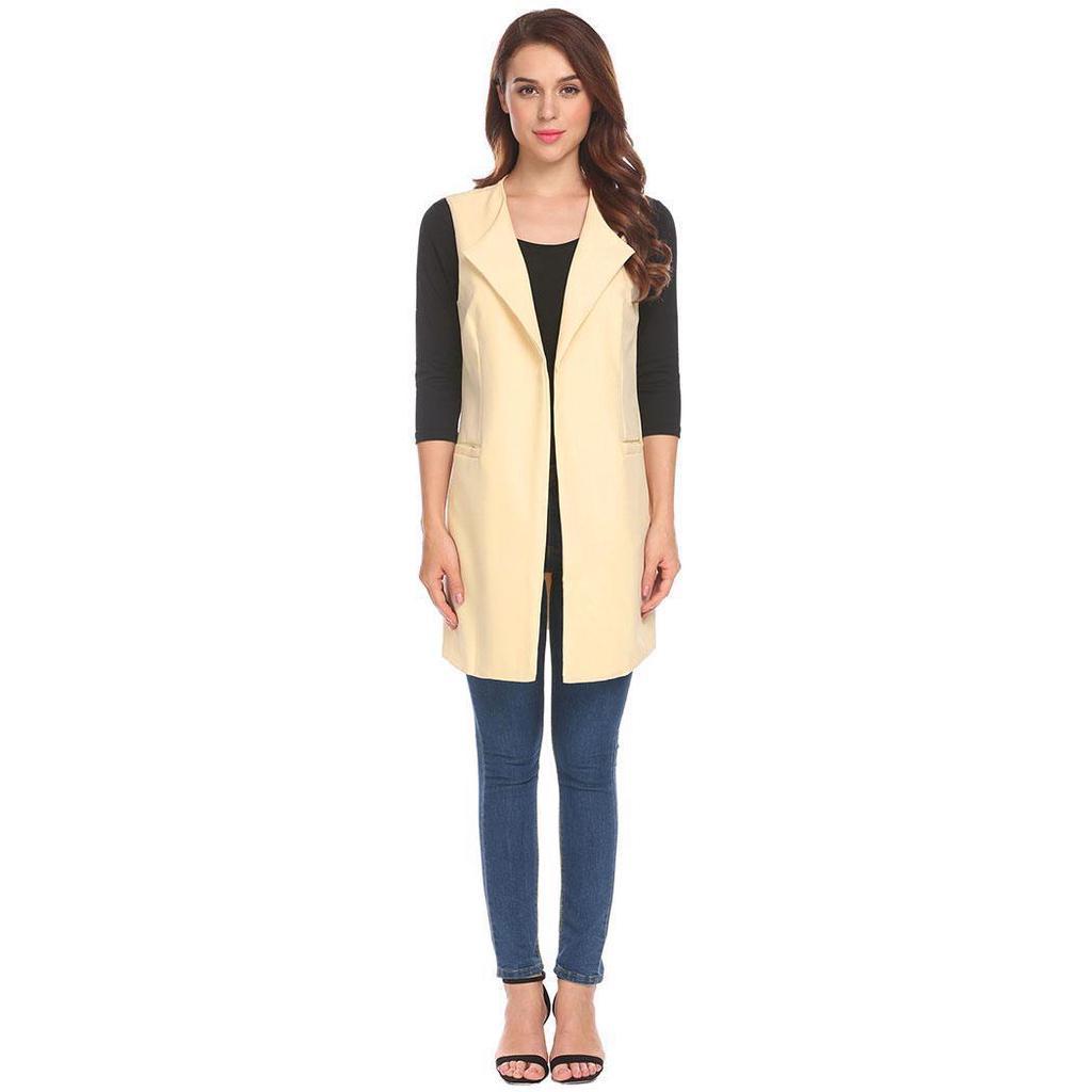 Casual OL feminino dois botões bolso Blazer manga comprida xaile casaco de lapela terno
