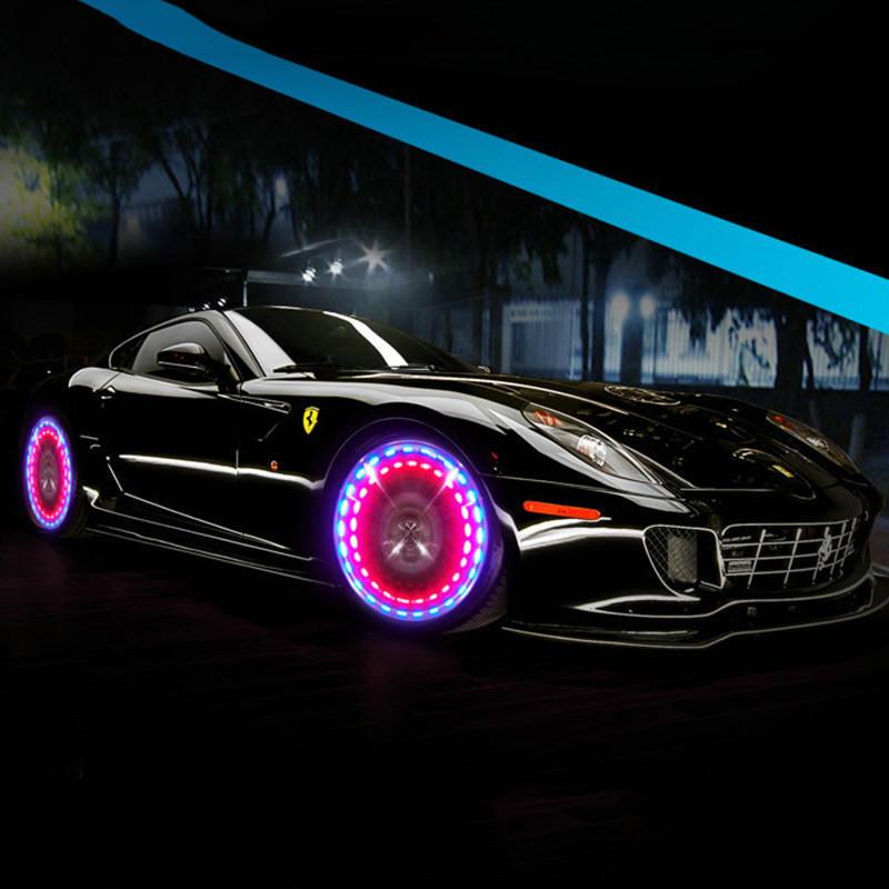 4* Solar Auto Hub Reifen Licht 4 Farben 12 Kleine LED-Sonnenenergie
