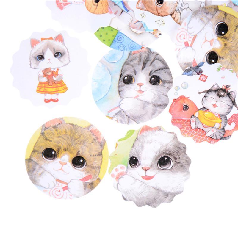 40pcs//set Small square box roundabout cat decors sticker book album DIY stickers