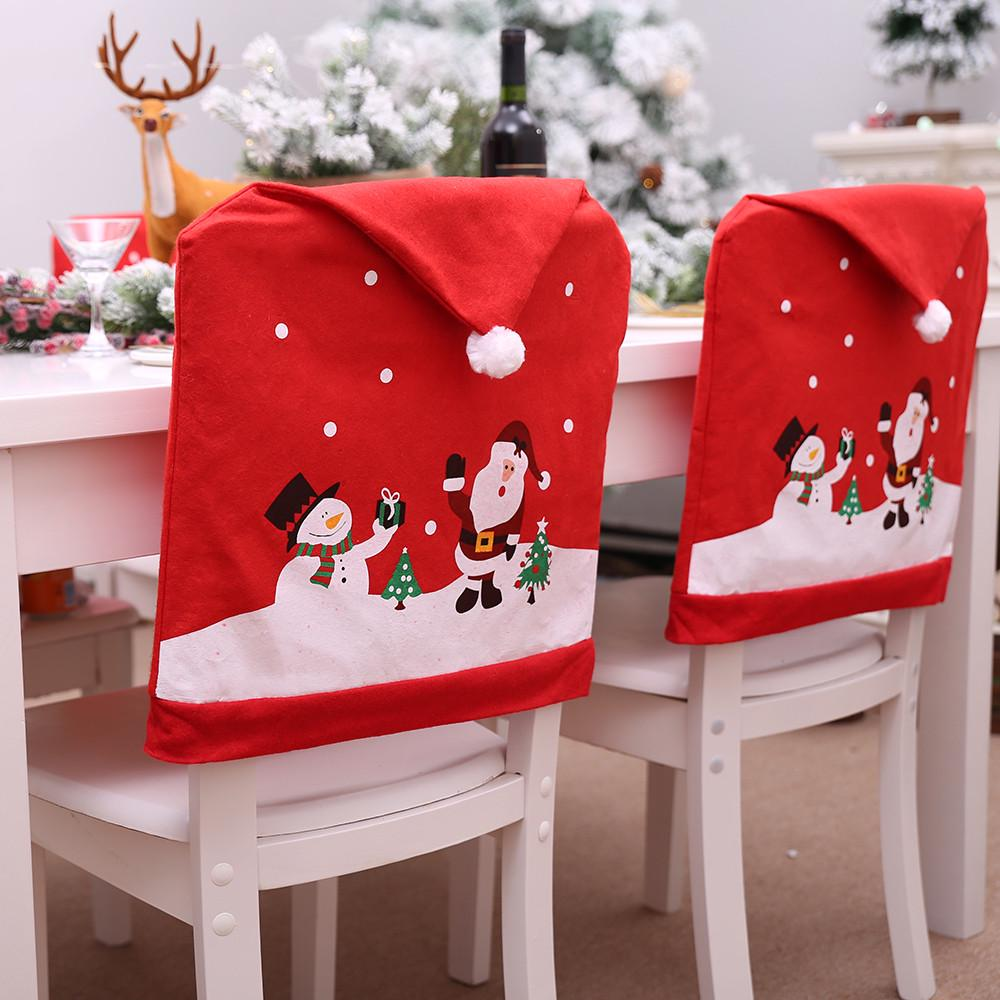 100pcs Christmas Chair Cover Santa Hat Xmas Party Dinner Seat Covers Decorations