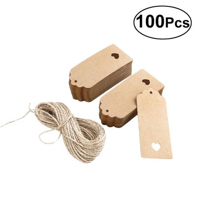 100pcs Gift Tag Kraft Paper Card DIY Tag with 10M Jute Twine String,Home Baking Gift Message Bookmark Tag