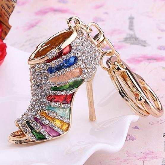 韩版高档水钻高跟鞋钥匙扣现货多 颜色创意韩版百搭时尚钥匙扣
