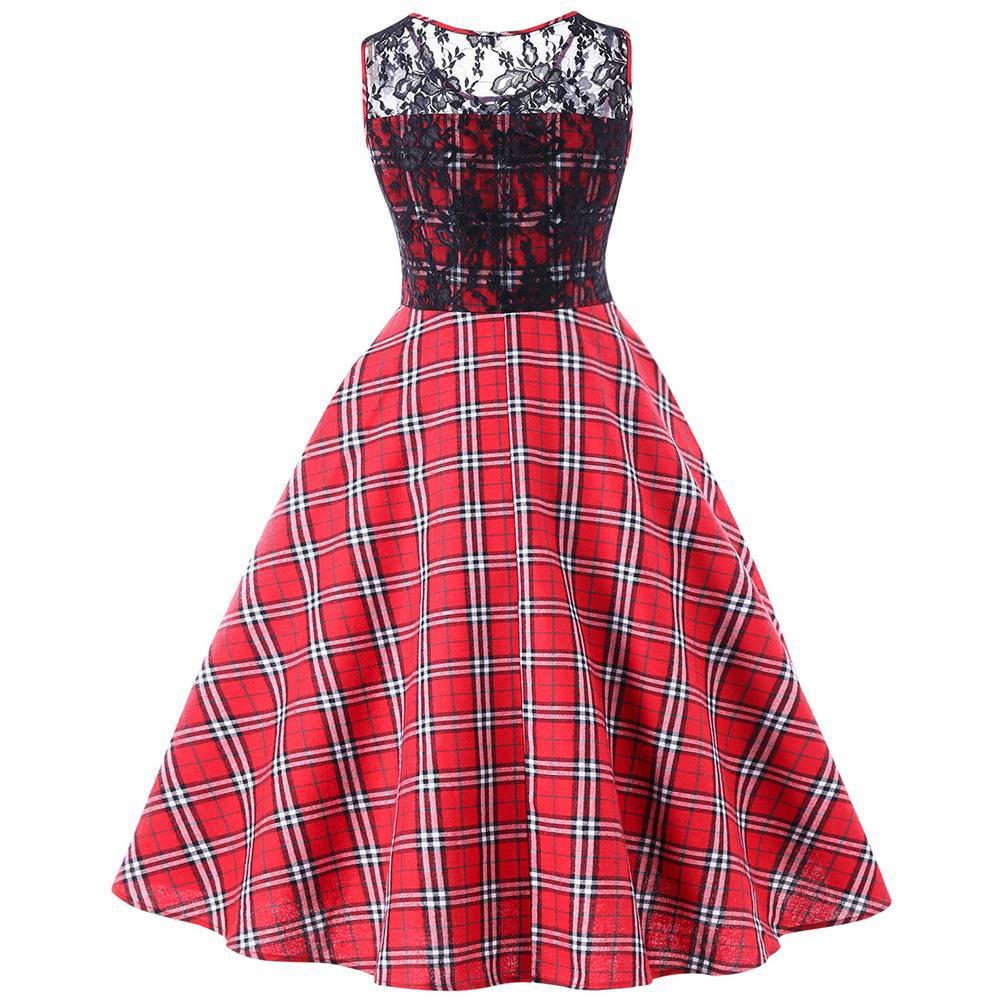 Cuadros de corte años 50 Swing Vestido de las mujeres encaje Vintage ...
