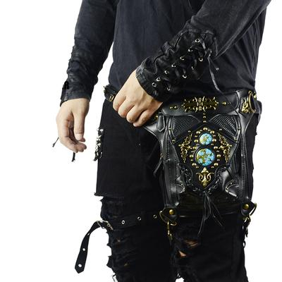 Steampunk Waist Bags for Womens Men Leather Motorcycle Leg Bags Vintage Gothic Messenger Bags
