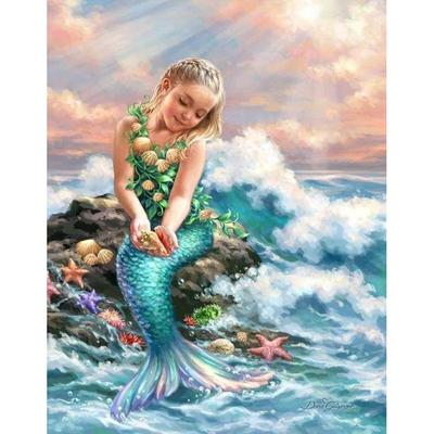 Large Beauty Mermaid Lady  Diamond Painting kit DIY painting style Full Drill