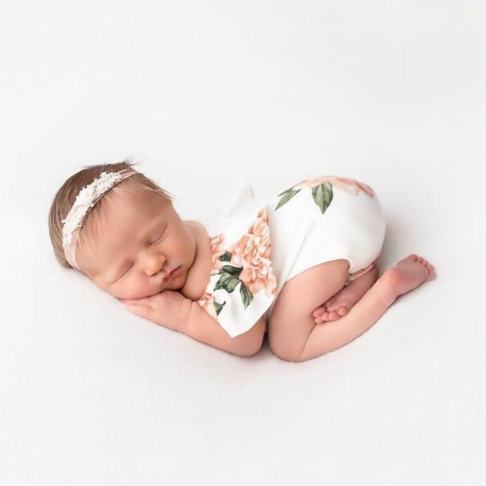 Lovely Newborn Photography Props Baby Girl Flower Print Rompers Lotus Decor