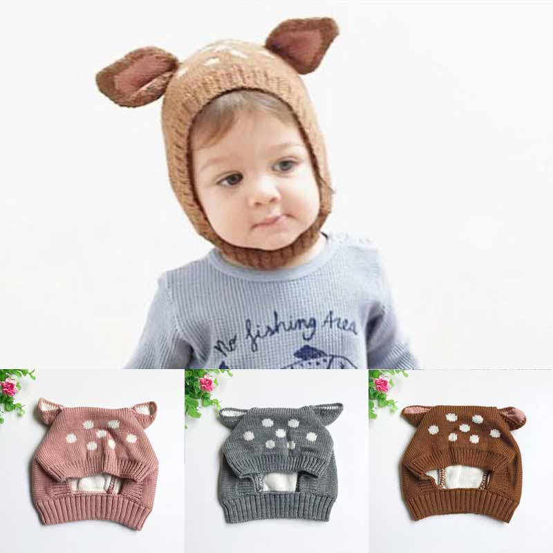 Niño lindo ciervo oído suave ganchillo bebé sombrero bonete apoyos ...