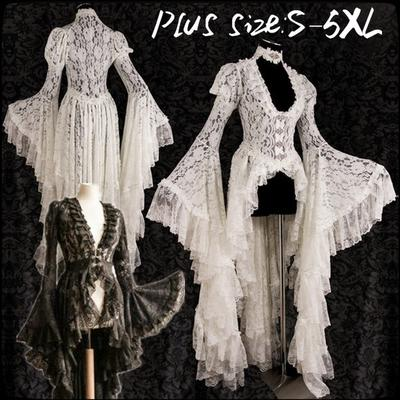 S~5XL Dress Women V-neck Evening Medieval Retro Full Length Cocktail Vintage