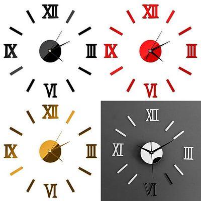 Home Decor Roman Numerals  Large Acrylic Mirror Surface 3D DIY Wall Clock Decor Clock Stickers