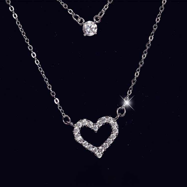 2Pcs//set Multilayer Heart Pendant Acrylic Necklace Clavicle Choker Women Jewe DD