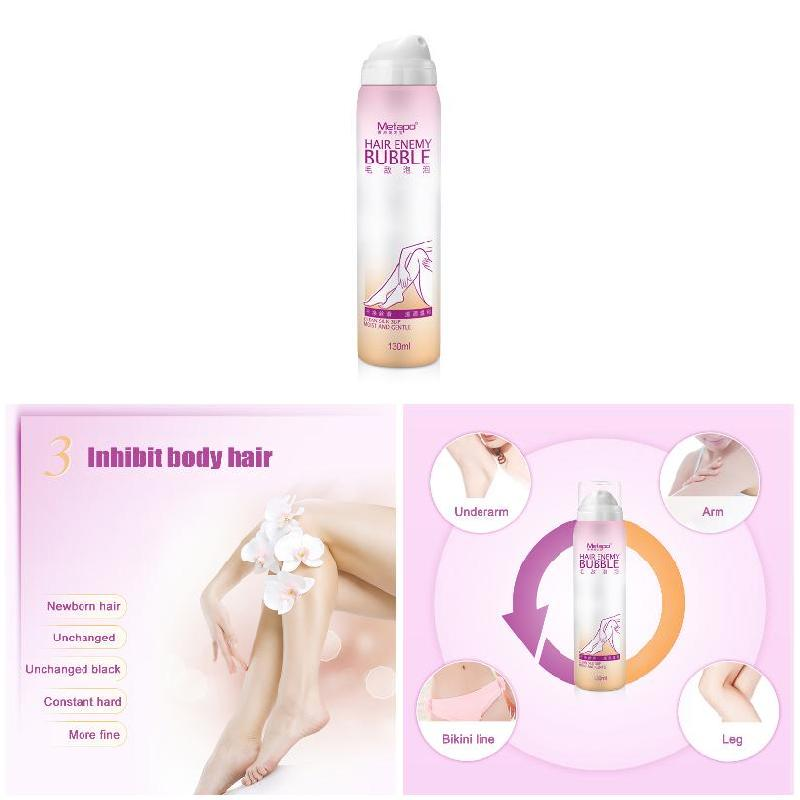 Depilatory Bubble Spray Beauty Hair Body Pain Wipe 130ml Removable Gentle