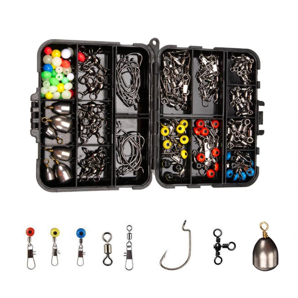 128 Pcs Fishing Gear Set Hooks Baits Carp Portable Angling Tackle Box Suit Kit