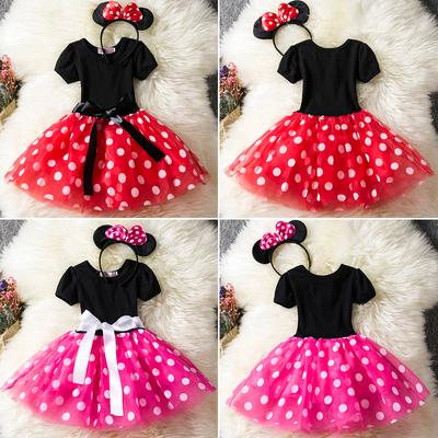 I17 Ladies Minnie Mickey Mouse Outfit Fancy Dress Disney Party Costume /& Ears