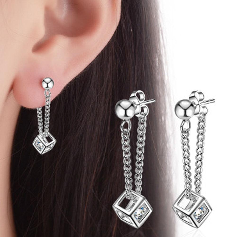 Fashion Crystal For Girls Square Shape Chains Tassels Drop Womens Wedding Party Statement Earrings