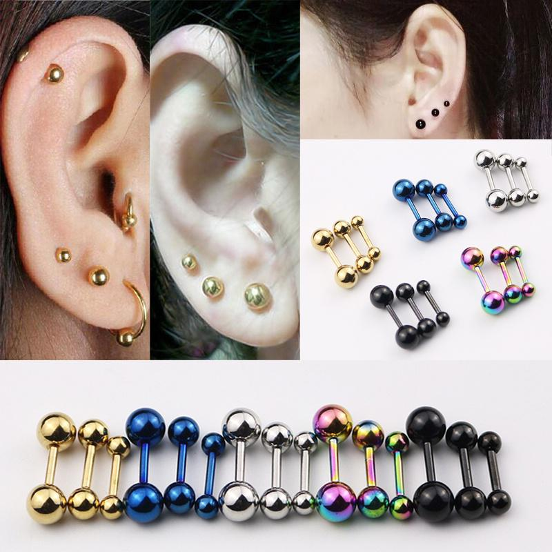 2pc Black 16g Surgical Steel Twisted Barbell 4mm Ball Spiral Cartilage Earrings Lip Tragus Eyebrow Hoop Helix 10mm