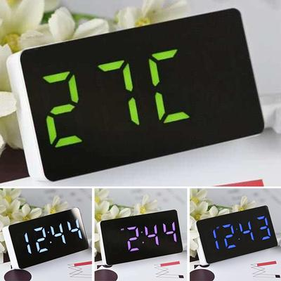 LED Mirror Clock Time/Calendar/Temperature Alarm Plastic W/ USB Cable 3 Function