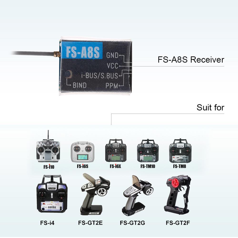 Mini receiver flysky fs-a8s 8CH receiver PPM ibus sbus output fs-i6 i6x i10  newest