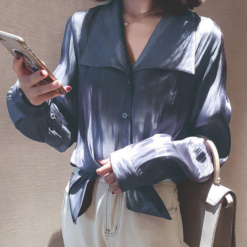 Женщины Длинные рукава блузки случайных Рубашка Весна Женщина Свободная Рубашка Офис Работа Носить Топы – купить по низким ценам в интернет-магазине Joom