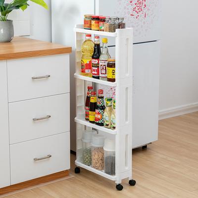 3/4 Layer Kitchen Storage Rack Fridge Side Shelf  Removable with Wheels Bathroom Organizer Holder