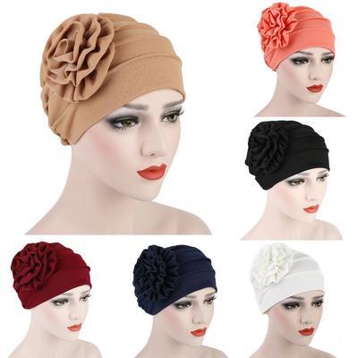 1708d3960959a Foulard de tête florale musulman Hijab Cap couleur unie Stretch chimio  Turban chapeau féminin