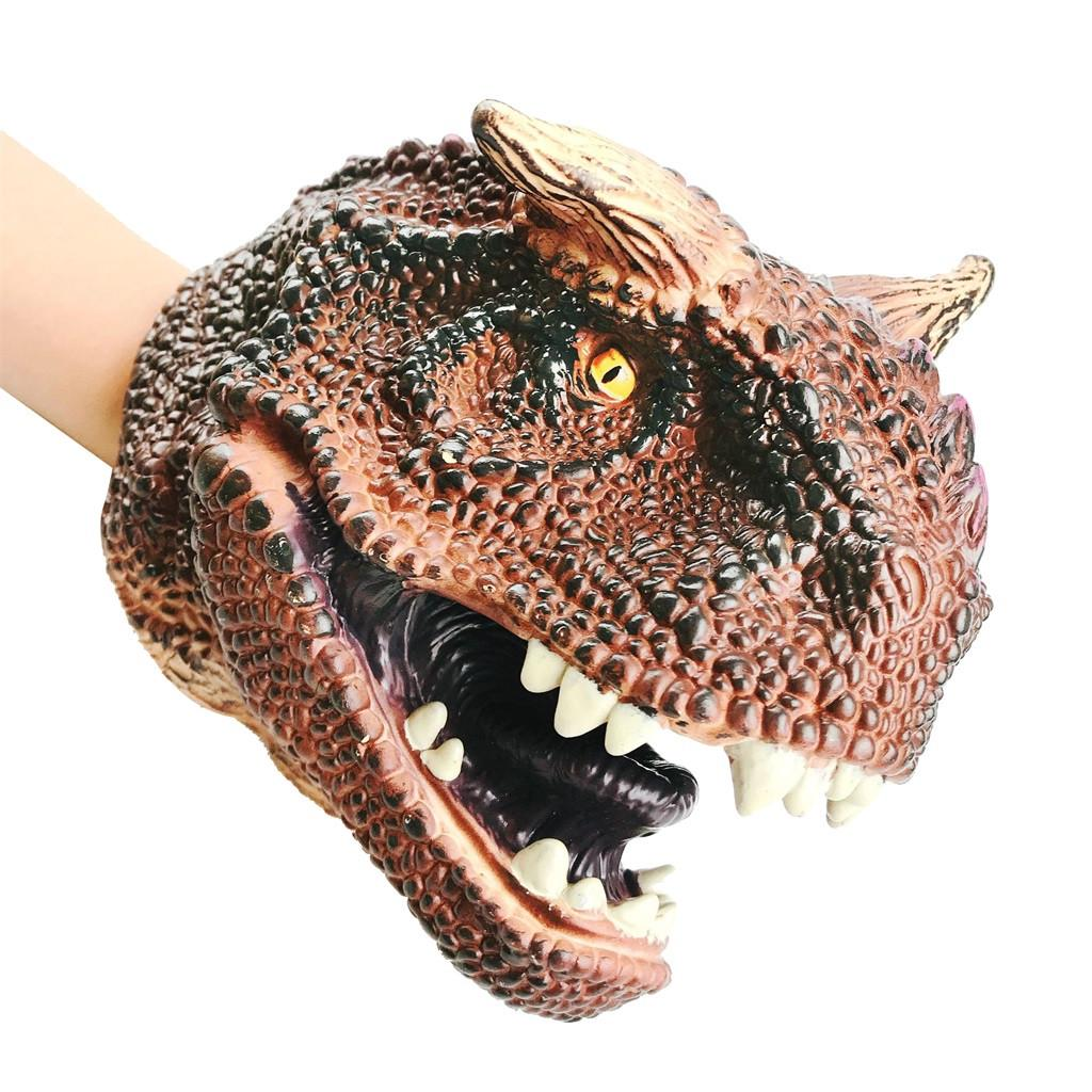 Realistic Soft Dinosaur Animal Hand Puppet Kids Role Play Halloween Toy Gift