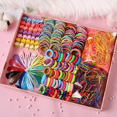 130/240/500/780 Pcs Girls Candy Color Nylon Rubber Band Child Women Safety Elastic Hair Band Ponytail Fragile Holder Slide Buckle Hair Clips Kid Hair