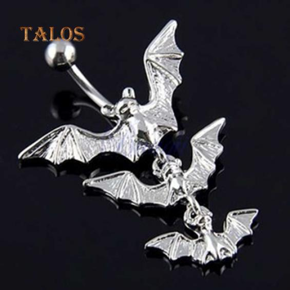 316L Surgical Steel Gemmed Anchor with Eagle Dangle Navel Ring