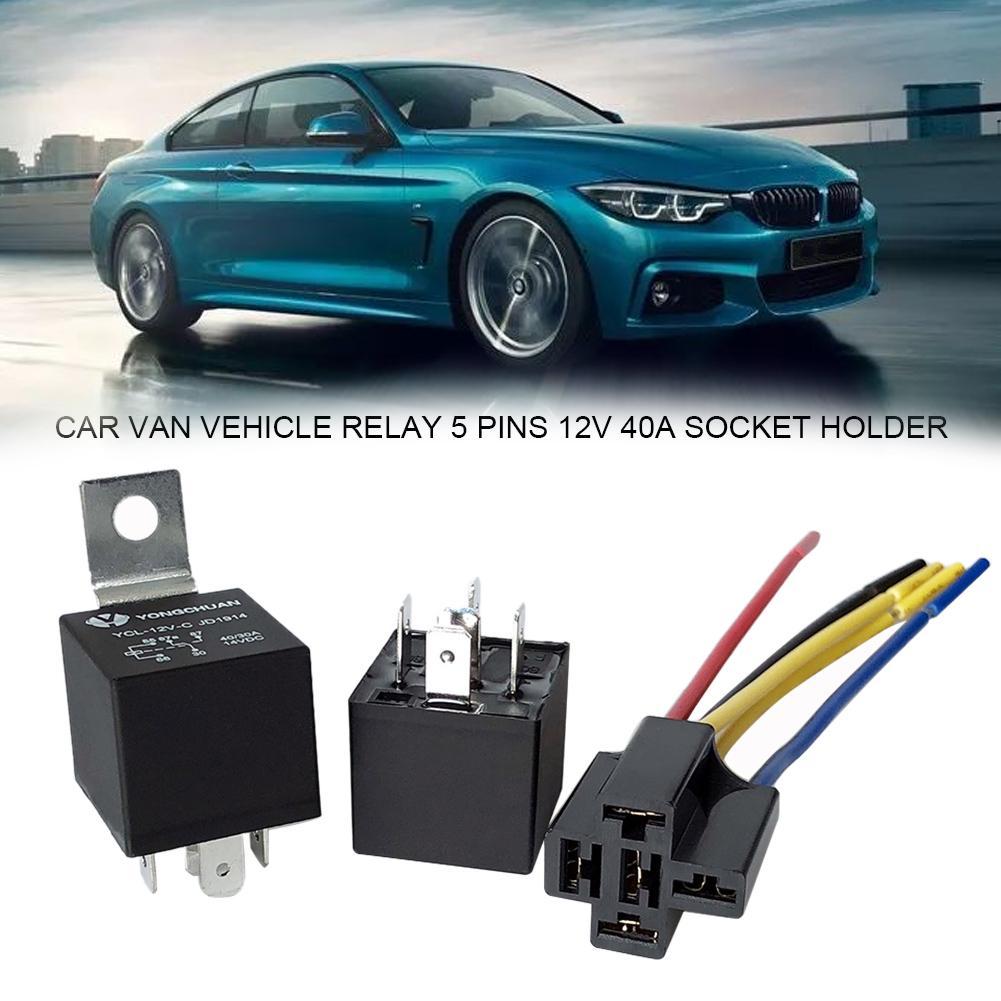 12V Automotive On//Off SPDT Relay 40A 5-Pin with Holder Socket for Car Van Motor