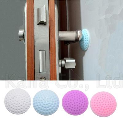 10Pcs Rubber Wall Protector Door Handle Bumper Guard Stopper Anti-Slip Sticker Self Adhesive Rubber Round Door Crash Pad Door Stops-Blue