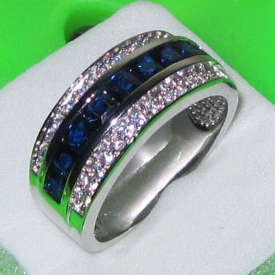 Strass solitaire acier inoxydable Engagement Mariage Bague Bande Set Taille 6-11