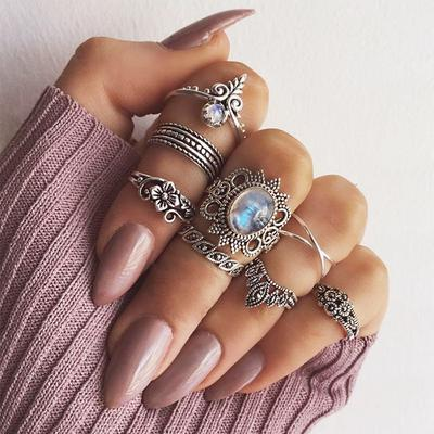 8 Pcs/set Bohemian style Vintage Rings Geometry Knuckle Rings Girl Jewelry gift Creation shape