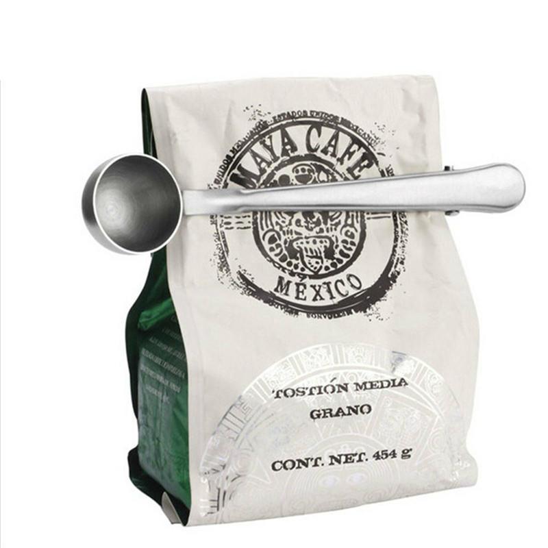不锈钢量勺带封口夹咖啡量匙奶粉调料勺调味勺雪糕勺