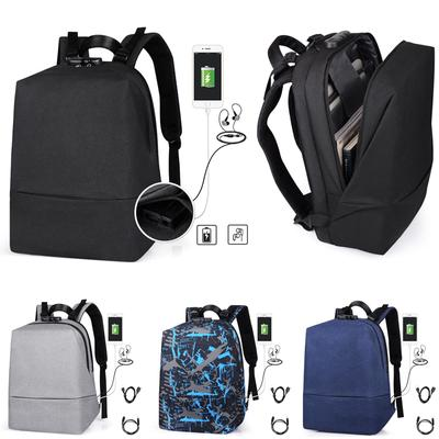 Black Men Women Anti-Theft Travel Backpack USB Port Shoulder Laptop School Bag
