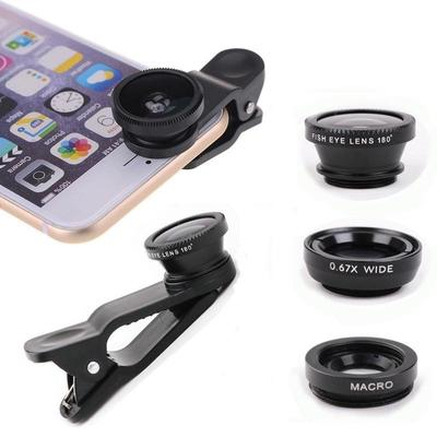 Outdoor 3 In1 Fish Eye Wide Angle Macro Camera Clip-on Lens for Universal Cell Phone
