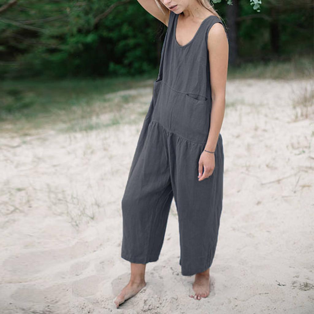 2017 Womens Loose Wide Leg Pants Jumpsuit Casual Linen Sleeveless Romper Overall