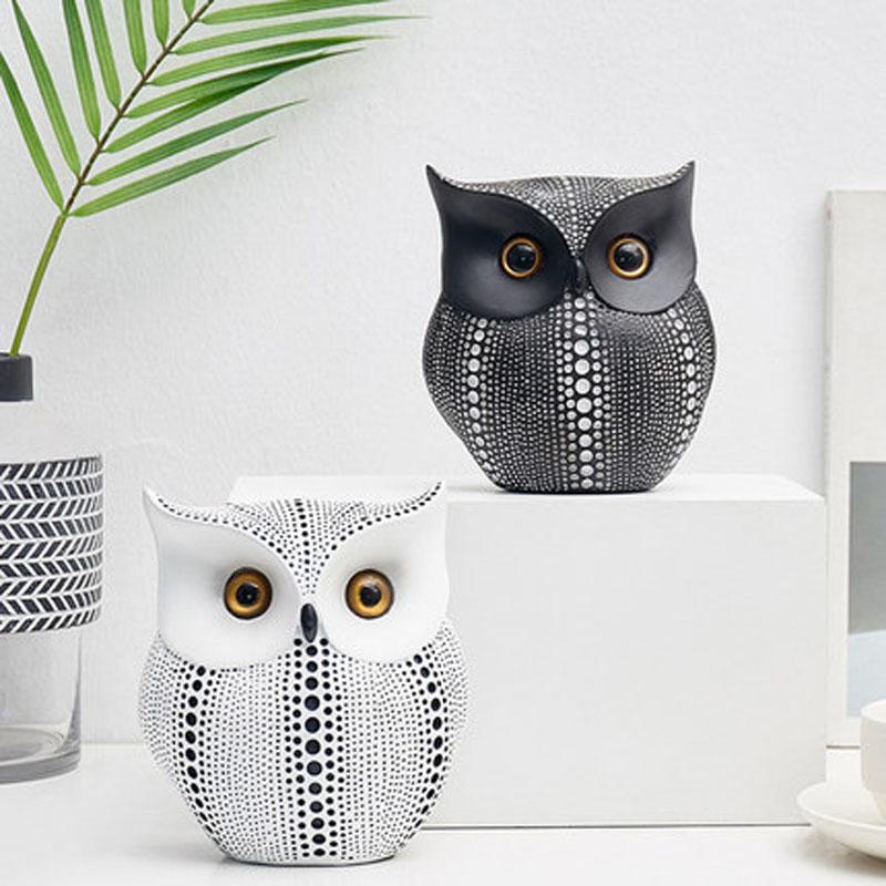 Minimalist White Black Owls Animal, Living Room Ornaments