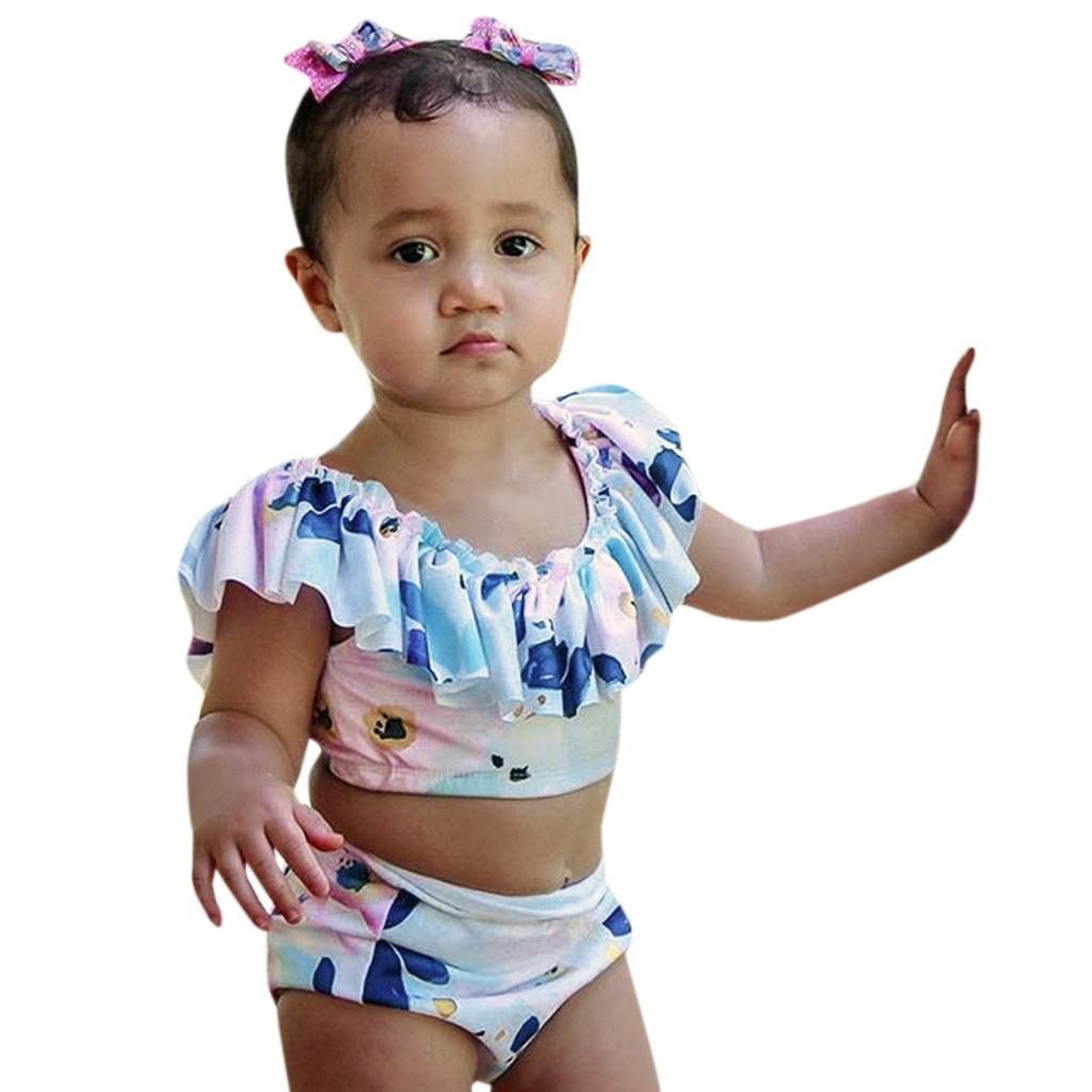 Toddler Baby Child Girl Ruffles Bird Swimwear Swimsuit Beach Romper Clothes