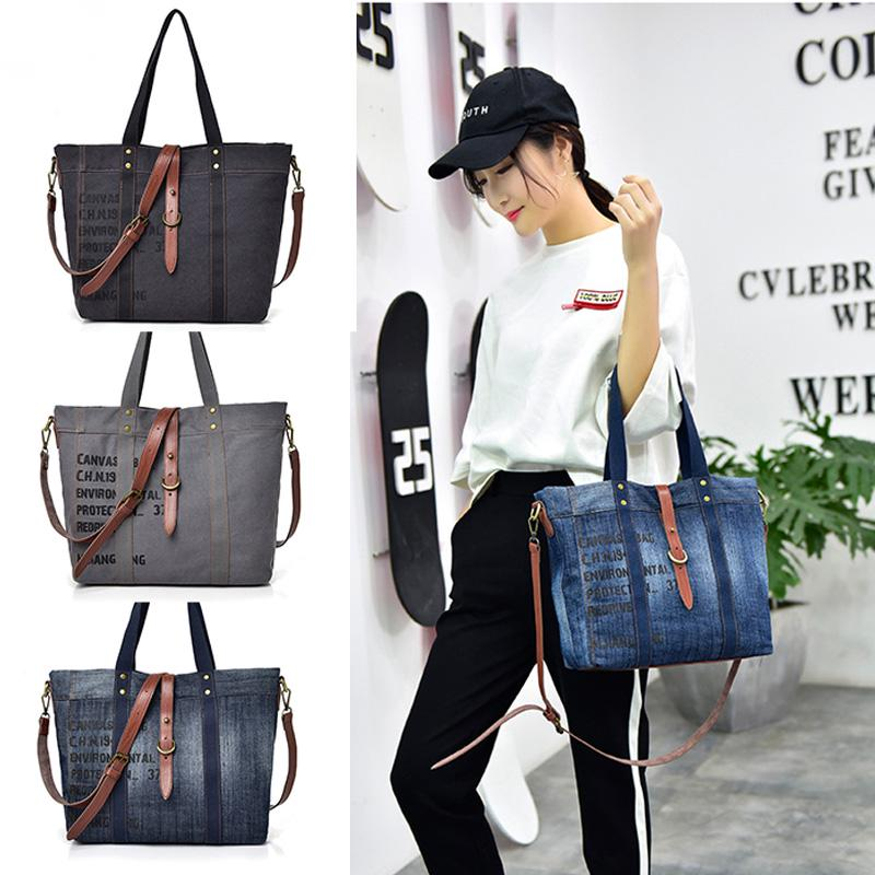 Handbags large pocket casual women shoulder crossbody handbags canvas  leather large capacity bags