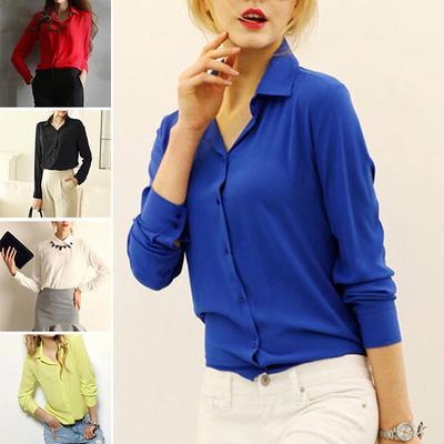 4b045dc6a Lapela das mulheres manga comprida Pullover Chiffon Camisas Botões Moda  Blusas 5 Cores