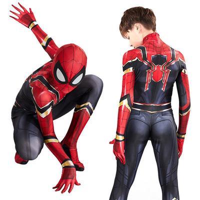 Kids Boy Iron Spiderman Costume Superhero Cosplay Reenactment Fancy Dress Suit