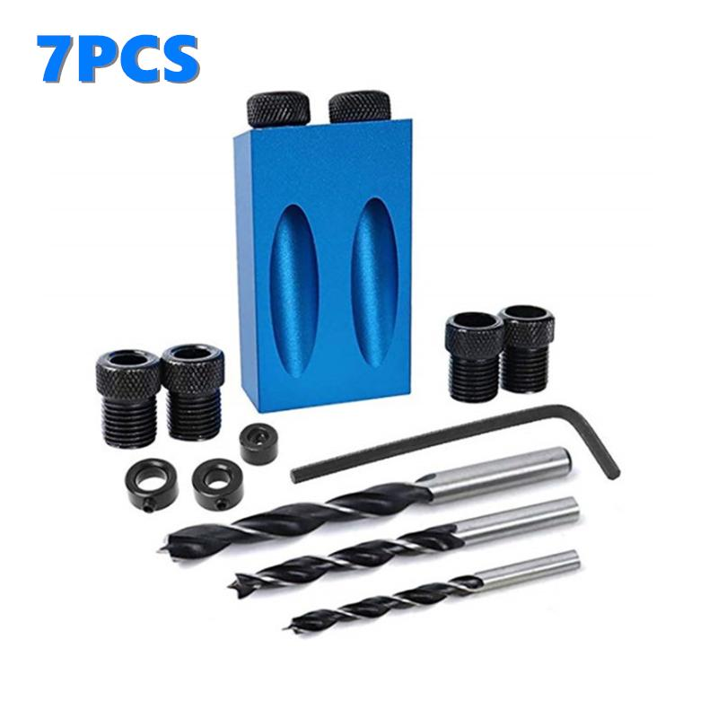 54pcs Woodworking Pocket Hole Jig Drill Guide Set Hole Puncher Locator Bit Tools